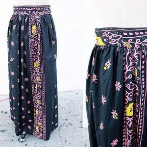 Vtg Navy & Pink Floral Hawaiian Maxi Skirt - M